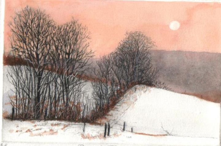 """Painting titled """"row of trees"""" by Bruce Macdonald, Original Art,"""