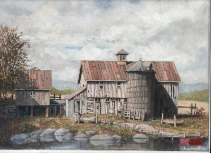 """Painting titled """"farm by the river"""" by Bruce Macdonald, Original Art,"""
