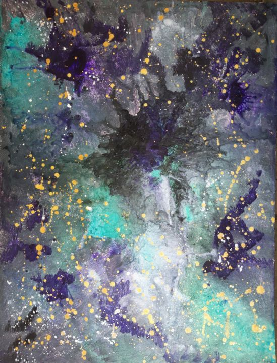 Explosion cosmique - Peinture,  28,7x19,7x0,4 in, ©2018 par Brigitte Mathé (MBL) -                                                                                                                                                                                                                                                                                                                                                                                                                                                                                                                                                                                                                                                                                                                                  Abstract, abstract-570, Autre, Cosmos, cosmos, explosion cosmique, art abstrait, encres, peinture, imaginaire, univers, painting, abstract, stars, sky