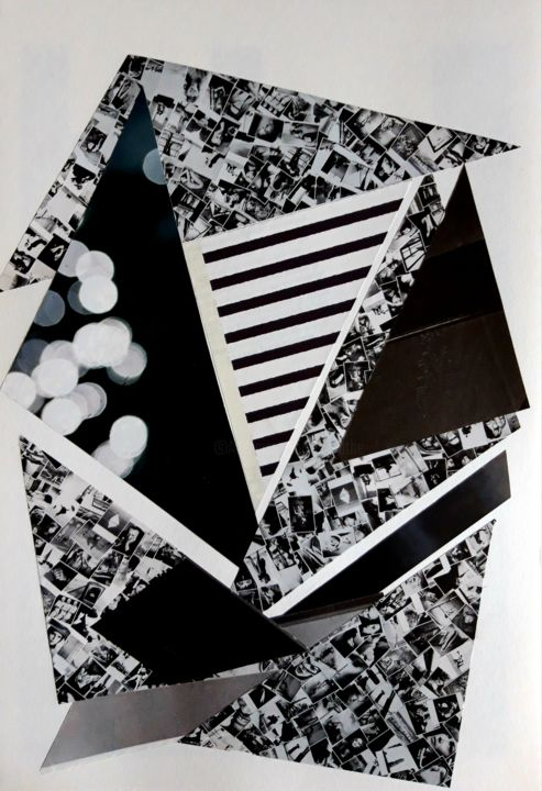 Sans titre COL 14 - © 2018 collage, abstrait, black and white, geometrie, forme, structure Œuvres-d'art en ligne
