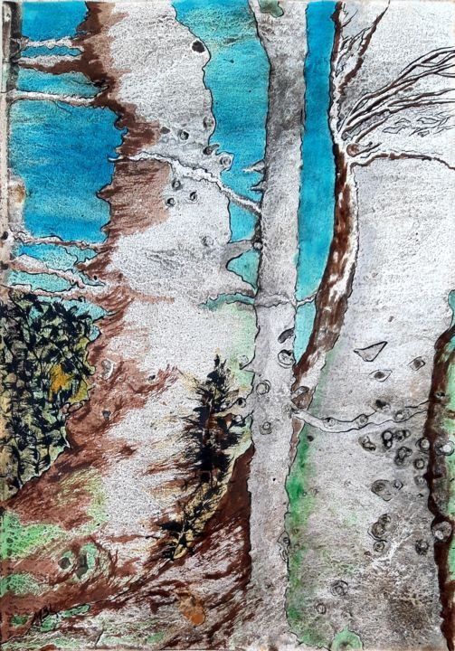 Forest 1 - Dessin,  16,5x11,6 in, ©2020 par Brigitte Mathé (MBL) -                                                                                                                                                                                                                                                                                                                                                                                                                                                                                                                                                                                                                                                                                                                              Abstract, abstract-570, Arbre, forest, arbres, abstract, abstractart, abstractpainting, ink, watercolor, imagination, artistpainter, Brigitte Mbl, mblbrigitte, artistonartmajeur