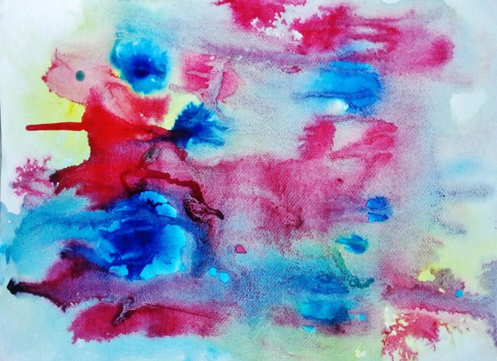 Cosmos 4 - Painting,  32x24 cm ©2015 by MBL -                                                            Abstract Art, Paper, Abstract Art, abstraction, art abstrait, cosmos, peinture