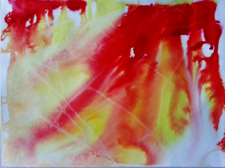 Cosmos 9 - Peinture,  9,5x12,6 in, ©2015 par Brigitte Mathé (MBL) -                                                                                                                                                                                                                                                                                                                                                                                                                                                      Abstract, abstract-570, Art abstrait, abstrait, abstraction, cosmos, naine rouge, explosion, univers