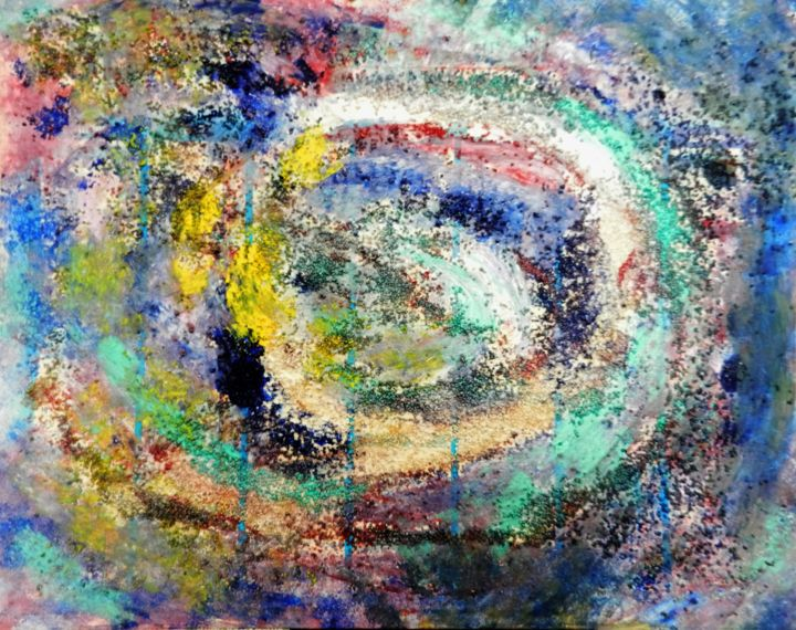 Attraction gravitationnelle - Peinture,  16,9x21,7x0,4 in, ©2016 par Brigitte Mathé (MBL) -                                                                                                                                                                                                                                                                                                                                                                                                                                                                                                                                                                                                                                                                                                                                                                                                                          Abstract, abstract-570, Autre, Art abstrait, art abstrait, abstraction, couleurs, spirale, galaxie, univers, acrylique, peinture, cosmos, painting, abstractart, abstractpainting, artistpainter