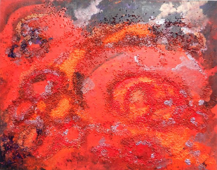 Red planet - Peinture,  16,9x21,7x0,4 in, ©2016 par Brigitte Mathé (MBL) -                                                                                                                                                                                                                                                                                                                                                                                                                                                                                                                                                                                                                                                                                                                                                                                                                                                                                                              Abstract, abstract-570, Art abstrait, art abstrait, acrylique, cosmos, univers, planète, mars, oxydations, pierres, cailloux, couleurs, rouge, orange, peinture, abstractart, abstractpainting, artistpainter