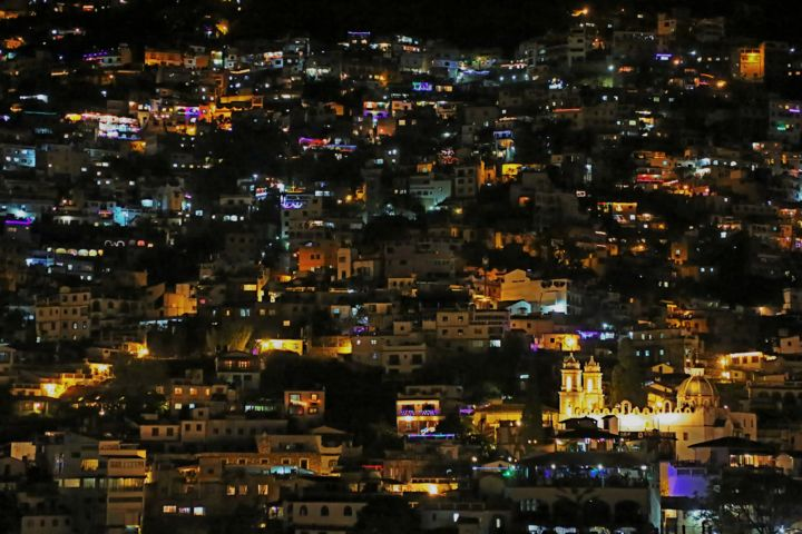 Nightly Taxco. #4 - Photography,  15.8x23.6 in, ©2015 by Boris Davidovich -                                                                                                                                                                                                                                                                                                                                                                                                          Figurative, figurative-594, Architecture, Time, Cities, Cityscape, Places, Mexico