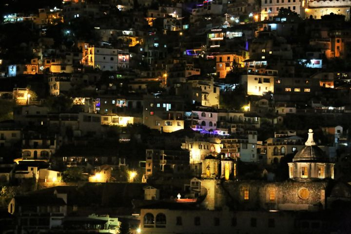 Nightly Taxco. #6. Mexico - Photography,  15.8x23.6x0.6 in, ©2015 by Boris Davidovich -                                                                                                                                                                                                                                                                                                                                                                                                          Figurative, figurative-594, Architecture, Time, Cities, Cityscape, Places, Mexico