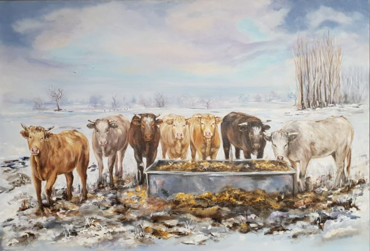 Les vaches 2 - Painting,  21.3x31.5 in, ©2019 by Ster -                                                                                                                                                                                                                                                                                                                                                                                                                                                                                                                                              Figurative, figurative-594, Animals, Nature, Landscape, Cows, hiver, neige, vaches, campagne, ciel