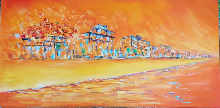 Trebisacce - Painting,  19.7x39.4x0.8 in, ©2019 by Ster -                                                                                                                                                                                                                                                                                                                                                          Abstract, abstract-570, Colors, Water, Nature, Beach, Cities