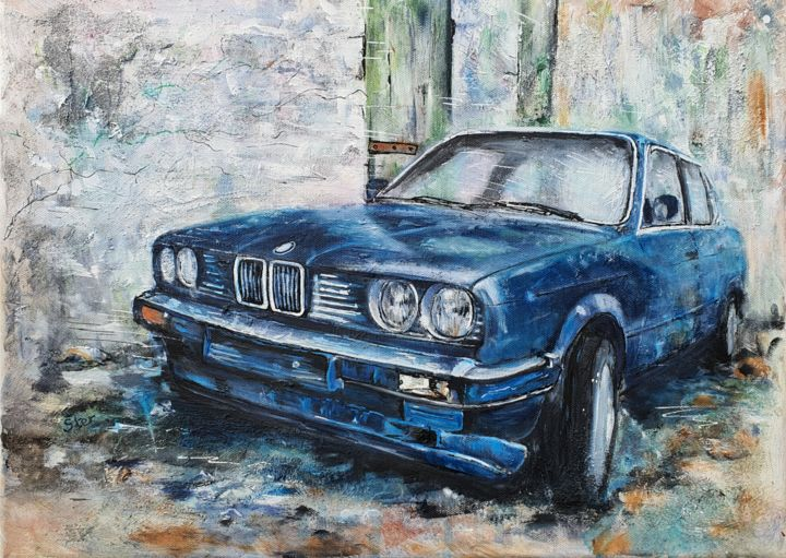 BMWe30...fin du confinement #ArtistSupportPledge - Painting,  13x18.1x0.6 in, ©2020 by Ster -                                                                                                                                                                                                                                                                                                                                                                                                                                                      Expressionism, expressionism-591, Humor, Time, Car, bmw, voiture ancienne, nostalgie, confinement