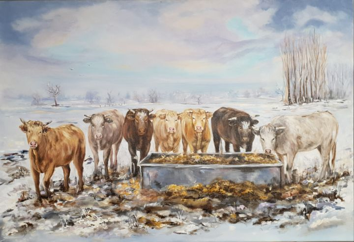 Vaches 2 - Painting,  21.7x29.5 in, ©2019 by Ster -                                                                                                                                                                                                                                                                                                              Figurative, figurative-594, Animals, Rural life, Nature, Cows