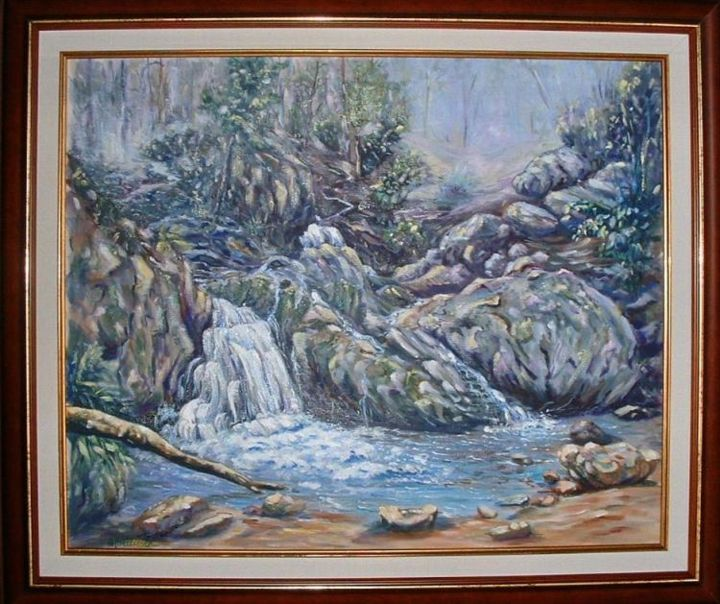 cascade - Painting,  19.7x23.6 in, ©2006 by Ster -                                                                                                                                                                          Figurative, figurative-594, paysage cascade