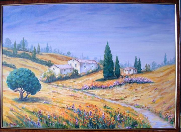 paysage de provence - Painting,  19.7x27.6 in, ©2001 by Ster -