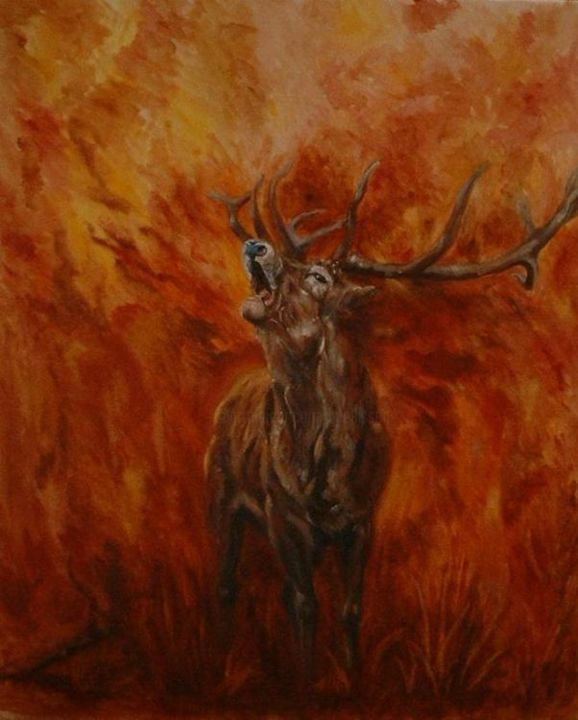 cerf - Painting,  25.6x21.7 in, ©2006 by Ster -                                                                                                                                                                                                  cerf, forêt, chasse, brâme du cerf
