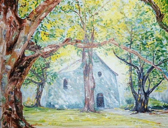 chapelle - Painting,  19.7x25.6 in, ©2000 by Ster -                                                                                                                                                                          Figurative, figurative-594, chapelle sous les arbres