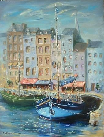 vieux port d'Honfleur - Painting, ©2004 by Ster -                                                                                                                                                                          Abstract, abstract-570, port honfleur
