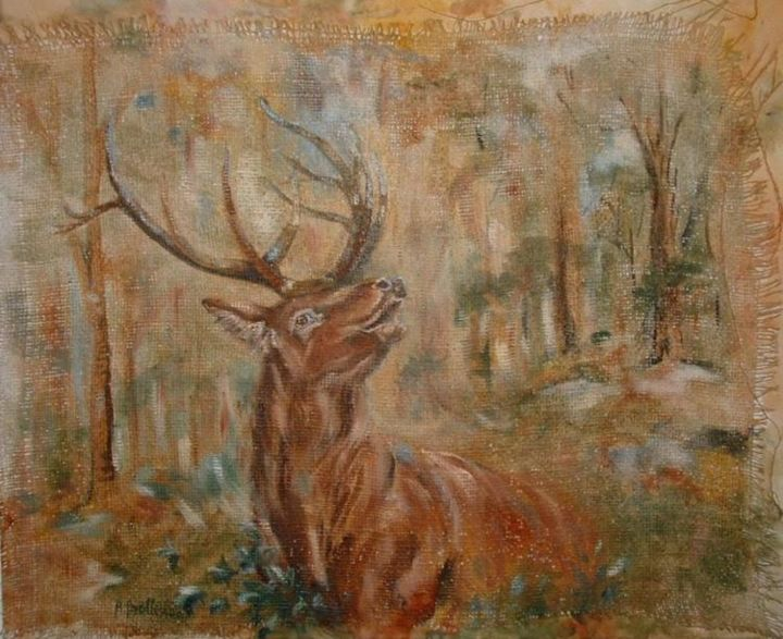 cerf - Painting, ©2006 by Ster -                                                              tete de cerf