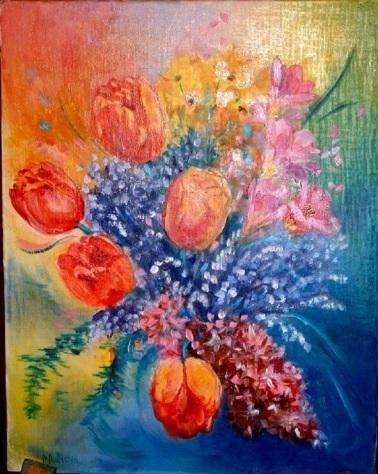 tulipes - Painting,  13.8x10.6 in, ©2004 by Ster -                                                                                                                                                                          Figurative, figurative-594, tulipe