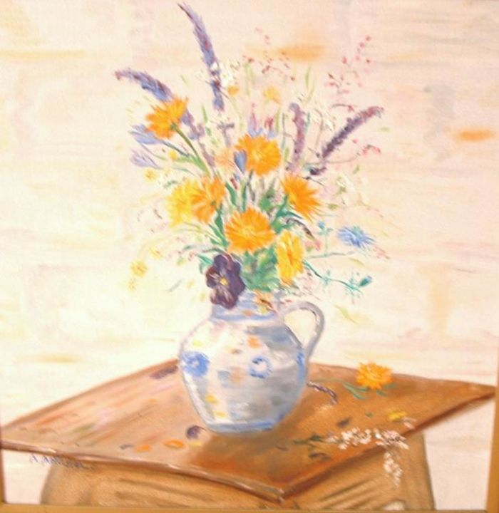 bouquet champetre - Painting,  16.1x15.8 in, ©2006 by Ster -                                                                                                                                                                          Naive Art, naive-art-948, bouquet champetre