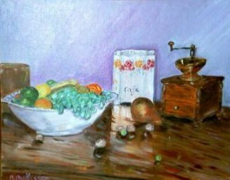nature morte au moulin - Painting,  11.8x15.8 in, ©1999 by Ster -