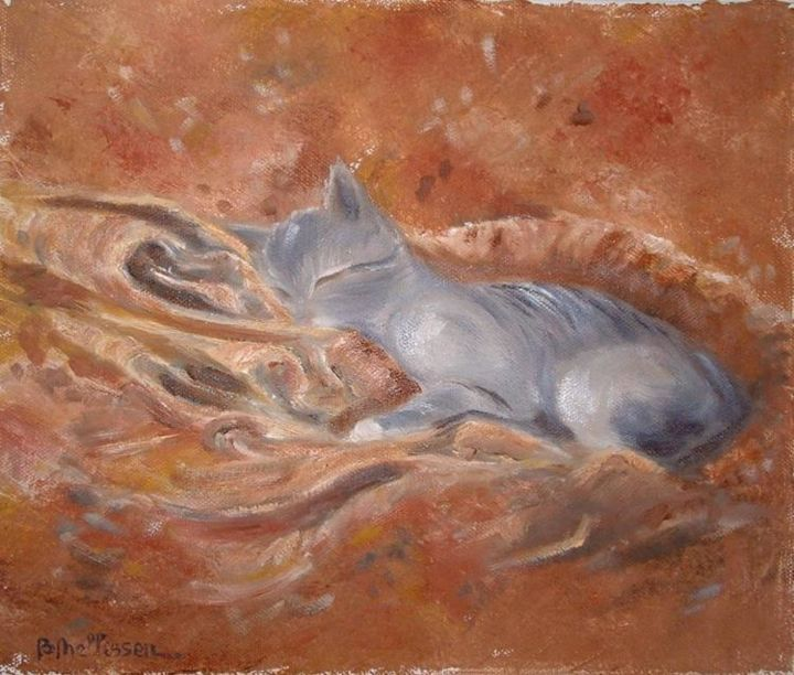 chat endormi - Painting, ©2006 by Ster -                                                                                                                                                                          Figurative, figurative-594, chat endormi