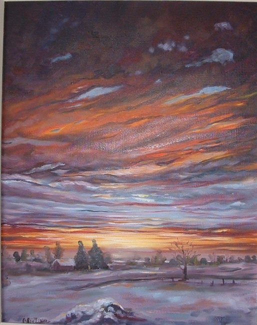 ciel et neige - Painting, ©2009 by Ster -