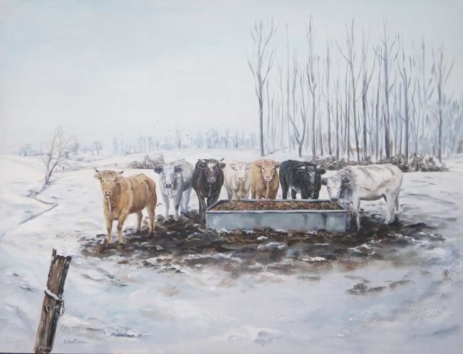 Vaches dans la neige - Painting,  32.3x42.9 in, ©2011 by Ster -                                                              troupeau de vaches devant leur bac dans la neige