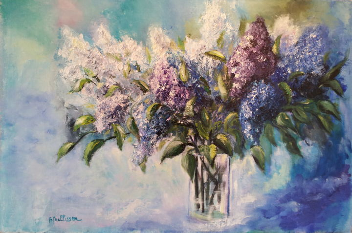 Lilas - Painting,  17.7x26.8 in, ©2014 by Ster -                                                                                                                                                                                                                                                  Flower, bouquet de lilas, mauve, rose, blanc.