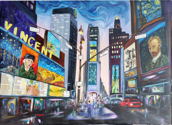 Vincent envahi New York - Painting,  24.4x32.7 in, ©2015 by Ster -                                                                                                                                                                                                                                                                                                                                          Cities, New-York, Mons 2015, Vincent Van Gogh, ciel étoilé, Marie Manoukian, les tournesols