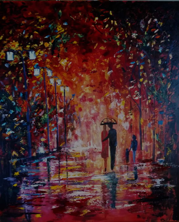 automne - Painting,  35.4x29.5 in, ©2016 by Ster -