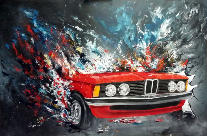 BMW e21 - Painting,  31.9x47.2 in, ©2016 by Ster -                                                                                                                                                                                                                                                                                              Automobile, BMW, e21, voiture, baur, rouge