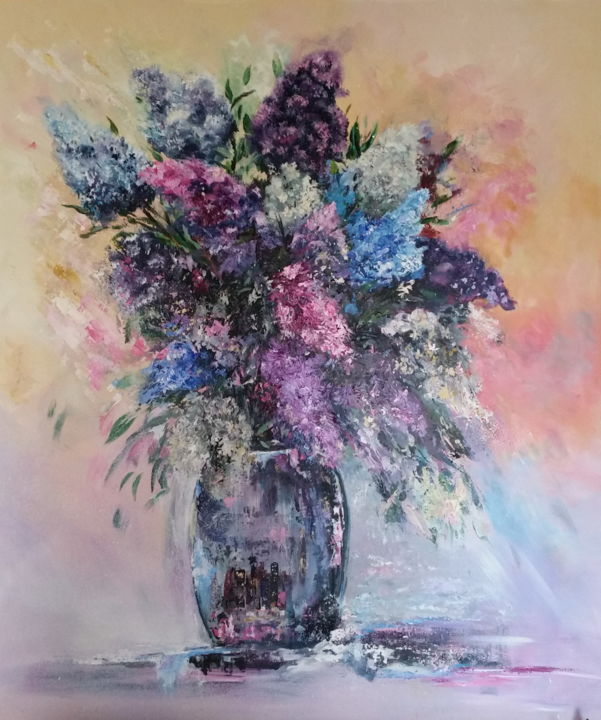 lilas2 - Painting,  35.4x29.5 in, ©2016 by Ster -                                                                                                                                                          Flower, lilas, bouquet