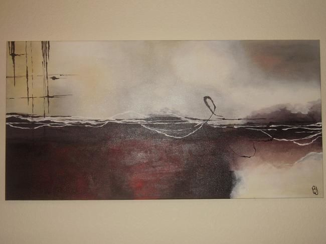 """Painting titled """"Red Abstract"""" by Bobbie, Original Art,"""