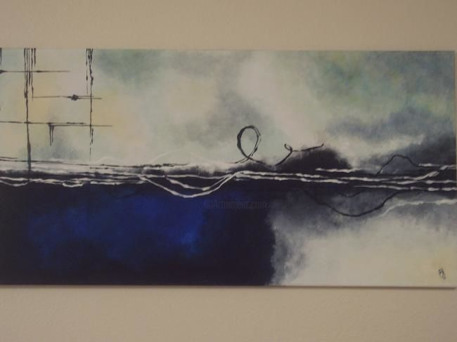 """Painting titled """"Blue Abstract"""" by Bobbie, Original Art,"""