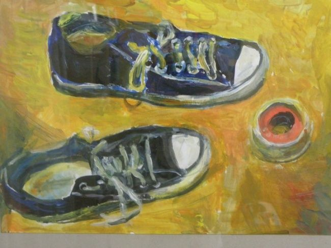 """Painting titled """"my shoes"""" by Nickolas Sechas, Original Art,"""