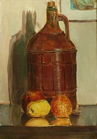 """Painting titled """"still life with oil…"""" by Nickolas Sechas, Original Art,"""