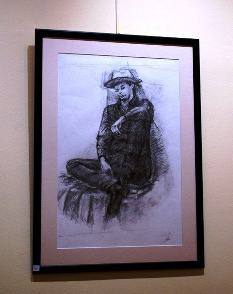 """Painting titled """"Pantelis with a hat"""" by Nickolas Sechas, Original Art,"""