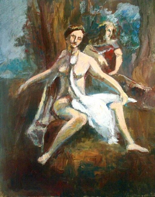"""Painting titled """"Lyda and the swan"""" by Nickolas Sechas, Original Art,"""