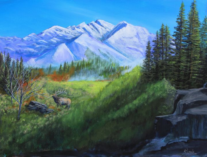 Majestic Mountain View - Painting,  18x24x0.8 in ©2019 by Robert Clark -                            Mountainscape, wildlife, elk, mountains, landscape, hunting