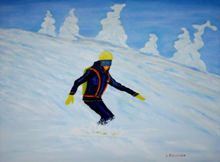 je prend l'air - Painting,  24x18x1 in ©2018 by Lionel Boucher -                                                            Folk, Canvas, Sports, ski, santé, neige, montagne, sportif, paysage, air pur, art populaire, quebec, peintre quebecois, artiste peintre, lionel boucher