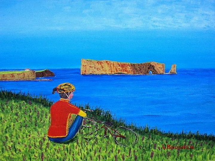 519   Beau repos - ©  rocher percé, Gaspésie, St Laurent, péninsule, estuaire, baleine, mer, excursion, art populaire, quebec, peintre quebecois, artiste peintre, lionel boucher Online Artworks