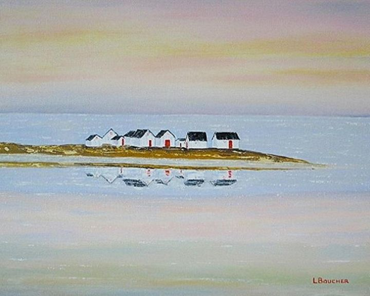 603 16x20    Cabanes de pêcheurs - Painting,  16x20x1 in ©2018 by Lionel Boucher -                                                            Folk, Canvas, Nature, pêcheur, st laurent, vigneault, natachquan, cabanes au canada, art populaire, quebec, peintre quebecois, artiste peintre, lionel boucher