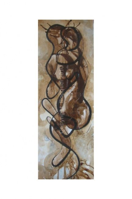 EN NOUS - Painting,  30x80 cm ©2012 by Laure-Anne Bocquel -                            Expressionism, couple enlacé