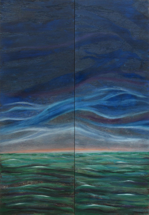 After a stormy night - © 2019 abstract art, abstract painting, seascape, diptych, sky, stormy, dawn, vertical Online Artworks