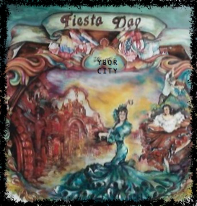 FIESTA DAY IN YBOR CITY - Peinture,  36x56x3 in ©1995 par Gloria Nova -                            Populaire, LATINA, FESTIVES, CELEBRATIONS, COLORFUL, MUSIC, DANCING, FLAMINGO, RIGHT COLORS, REDS, GREENS, GOLDS, ,  SRONG COLORS, NOISY, ,  FESTIVE, TOURISTS, PARADES, YEARLY EVENTS