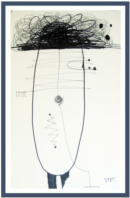 """Drawing titled """"Abstract 4"""" by Bogdan Stet, Original Art,"""