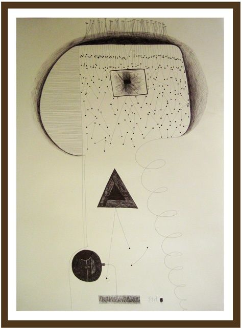 """Drawing titled """"Abstract 9"""" by Bogdan Stet, Original Art,"""