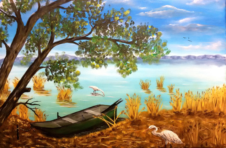 Trasimeno3.jpg - Painting,  15.8x23.6x0.8 in, ©2017 by Leandro Boi -                                                                                                                                                                                                      Nature, lago, acqua, barca