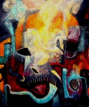 When Feelings Burn - Painting ©2006 by Martha Elisa Bojórquez -                        Abstract Expressionism