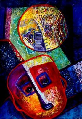 Millenium Thoughts - Painting ©2001 by Martha Elisa Bojórquez -                            Abstract Expressionism, mask
